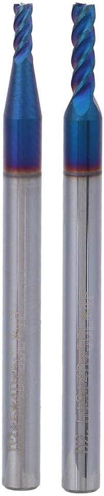 Fraise /à t/ête plate Lacier au tungst/ène Nano Rev/êtement/HRC65 /° 4-Fl/ûte 2//2.5mm / 2 * 9 * 4D*50L