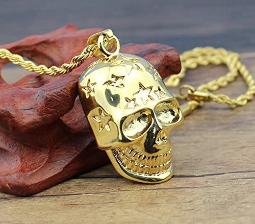 JAJAFOOK Unisexs Gold Plated 316L Stainless Steel Rock Star Skull Necklace Pendant Skull Fashion Jewelry
