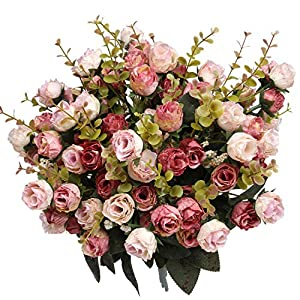 Flojery 21 Heads Artificial Silk Fake Flowers Leaf Rose Wedding Floral Decor Bouquet,Pack of 4 7