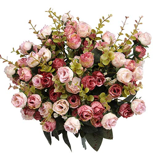 Flojery 21 Heads Artificial Silk Fake Flowers Leaf Rose Wedding Floral Decor Bouquet,Pack of 4 (Pink)