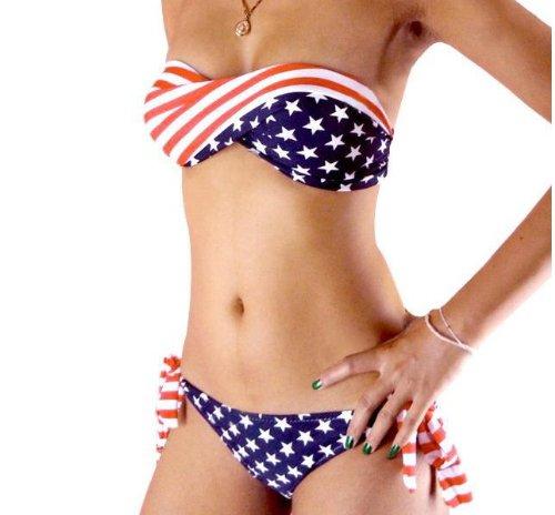 NewNow Two-Piece Stars and Stripes Padded Twisted Bandeau Tube American Flag Swimwear Bikini BRA M