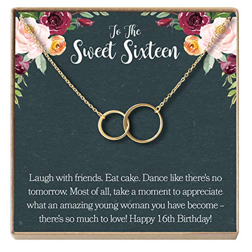 Dear Ava Sweet 16 Gift Necklace: Sweet Sixteen, 16th Birthday, Gift for Her, 2 Asymmetrical Circles (Gold-Plated-Brass, NA)
