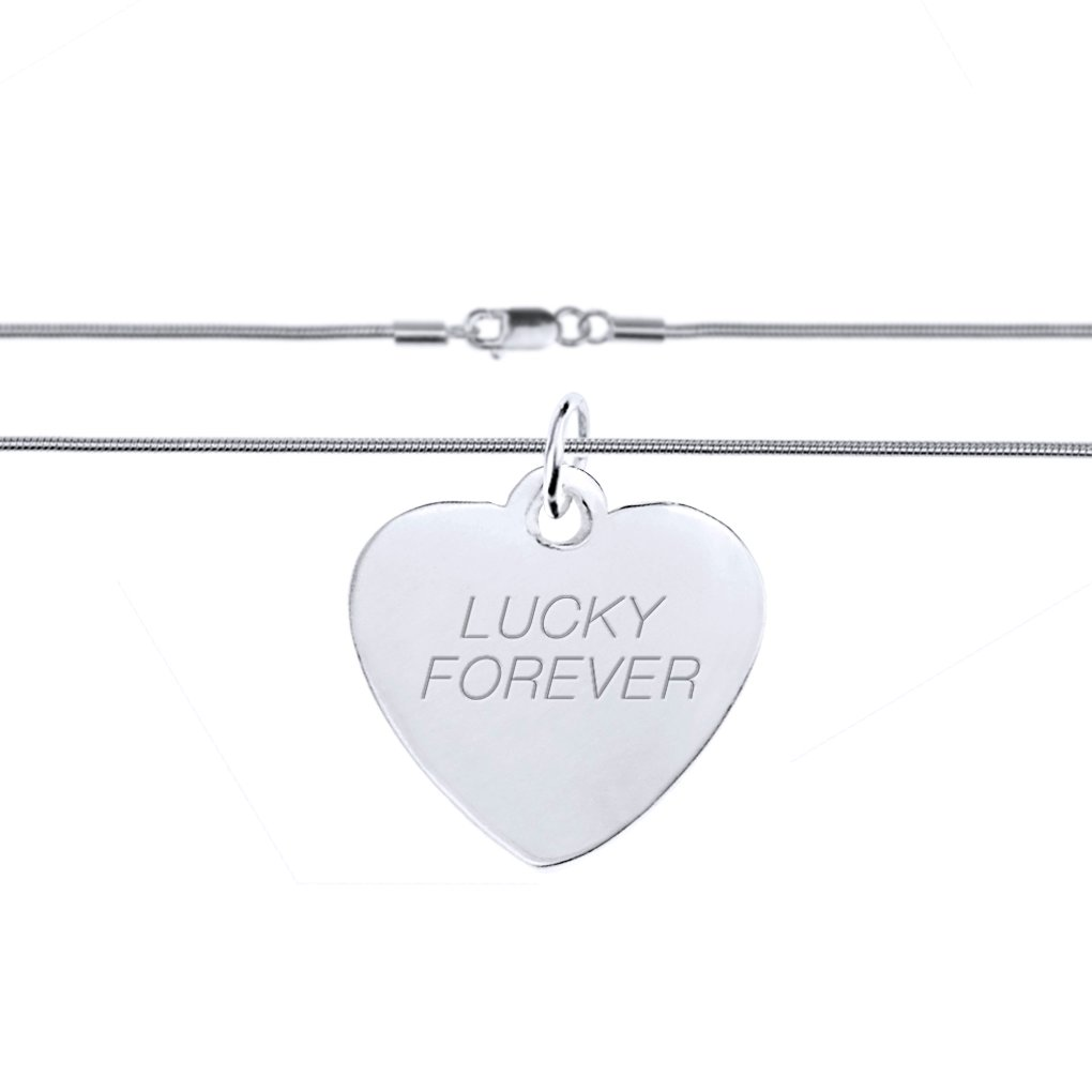 925 Sterling Silver Personalized Heart//Round//Rectangle//Star Bar Charm Pendant Engraved Custom Inspirational Letters Name Plate 16 Link Chain Necklace Necklet Jewelry in Gift Box for Lovers Friends