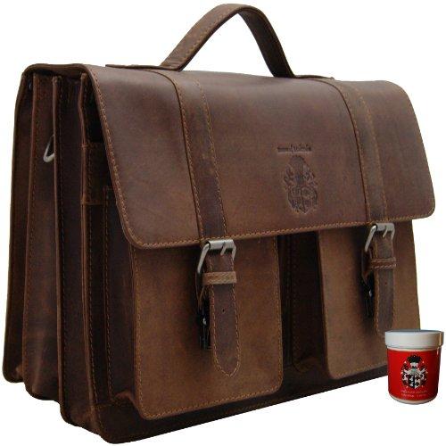 Aktentasche - Lehrertasche - Laptoptasche DARWIN aus braunem Leder - BARON of MALTZAHN