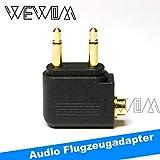 WEWOM Audio Flugzeugadapter für Kopfhörer 2x 3,5mm Mono Klinke auf 3,5mm Stereo Buchse Vergoldet