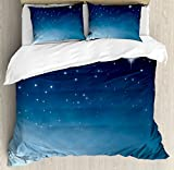 Ambesonne Night Duvet Cover Set Queen Size by, Ombre Inspired Sky with Vibrant Stars Universe Astronomy Exploration, Decorative 3 Piece Bedding Set with 2 Pillow Shams, Light Blue Dark Blue White