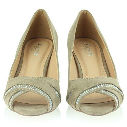 Mujer Señoras Noche Casual Diamante Cross Over sobre Peeptoe Tacón Medio Sandalias Zapatos Talla Beige