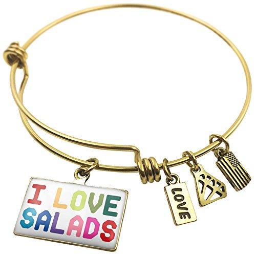 Expandable Wire Bangle BraceletI Love Salads,Colorful, (Wire Salad)