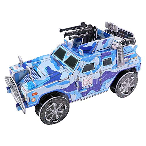 Goldflower 3D Puzzles Jigsaw Paper Jigsaw Puzzles Cardboard Assembly Educational Blue Camo Jeep Car Model Cool Kids Toys for Boys 84 Pieces