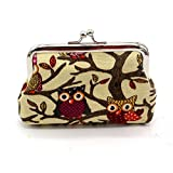 Creazy Women Lovely Style Lady Small Wallet Hasp Owl Purse Clutch Bag (Khaki)