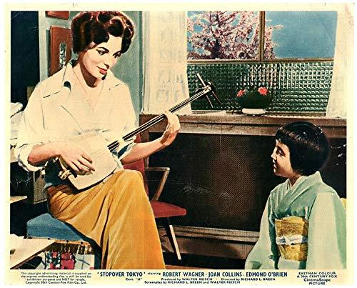 Stopover Tokyo Original 8x10 Lobby Card Joan Collins Plays Japanese Guitar