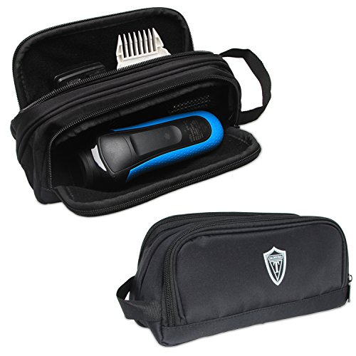 Damero Travel Organizer, Men Grooming Storage Bag with Two Compartments for Electronic Shaver, Hair Clipper, Beard Trimmer and Attachment, Roomy, Lightweight and Portable, Black (Clippers Storage)
