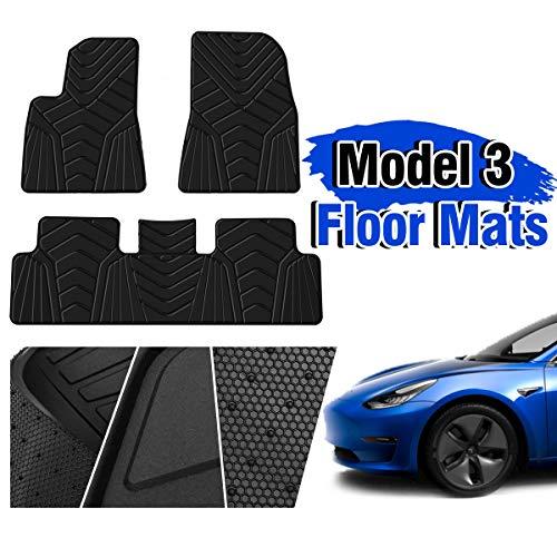 2017 Exclusive Car Mats - TOOCA Floor Mats for Tesla Model 3, All Weather Waterproof Mildew Proof Car Accessories Compatible for Tesla 2017/2018/2019 Front & Rear Floor Mats Set Heavy Duty Rubber Environmental Material (Black)