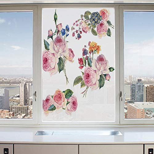 3D Decorative Privacy Window Films,Vintage Floral Bouquets with English Roses Wildflowers Botanical Natural Summer Time Decorative,No-Glue Self Static Cling Glass film for Home Bedroom Bathroom Kitche