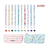 12 Pack Set -10 Pcs Unicorn Flamingo Gel Pens Set (Fine Point,0.5mm,10 Ink Color) +1 Unicorn Pencil Case+1 Flamingo Pencil Case, Best Unicorn Gifts Perfect Unicorn School Supplies