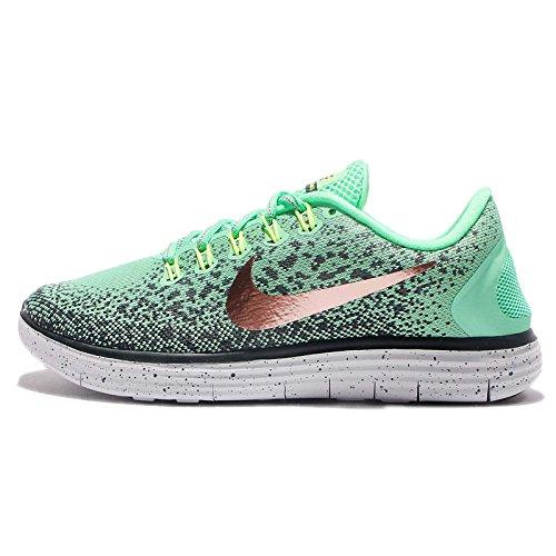 Nike - WMNS Free Rn Distance Shield Green - Sneakers Mujer Verde (Green Glow / Mtlc Red Bronze / Hasta / Seaweed)