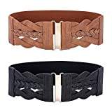 Women Black and Brown Retro Stretchy Wide Waist Belt 2 Pack Size L
