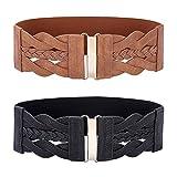 Fashion Braided Belt for Women Elastic Stretch Wide Dress Belts Size XL