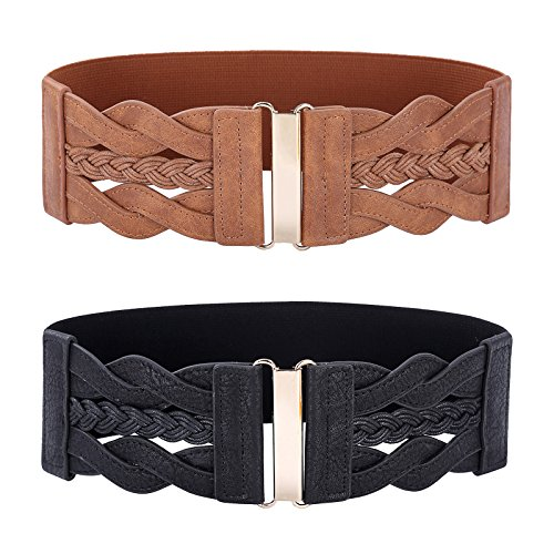 Women's 2 Pack Retro Wide Elastic Stretch Belt, Black + Brown, Medium (Wide Fashion Belt)