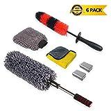 upra Car Cleaning Tools Kit - Set of 6 - Car Duster Rim Cleaning Wheels Brushes Microfiber Cloths Microfiber Car Wash Mitt 2 Pcs Car Clay Bar - Exterior Interior Wash Brush Kit