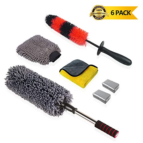 upra Car Wash Cleaning Tool Kit - Set of 6 - Car Duster Rim Cleaning Wheels Brushes Microfiber Cloths Microfiber Car Wash Mitt 2 Pcs Car Clay Bar - Exterior Interior Wash Brush Kit