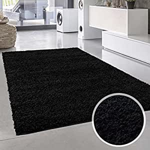 Plain Shaggy alfombra Plain negro redondo y rectangular Oeko Tex diversos tamaños, polipropileno, negro, 60 cm_x_110 cm