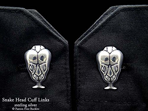 Snake Head Cuff Links in Solid Sterling Silver Hand Carved & Cast by Paxton by Paxton Jewelry