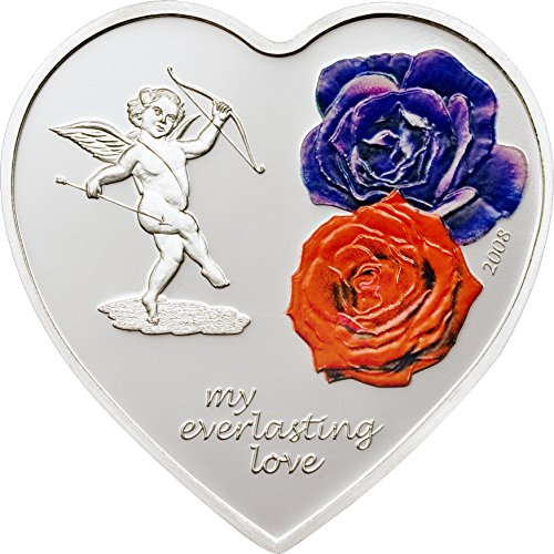 Shaped Coin Silver (2008 CK Happy Valentine Cit PowerCoin EVERLASTING LOVE Heart Shaped Silver Coin 5$ Cook Islands 2008 Proof)