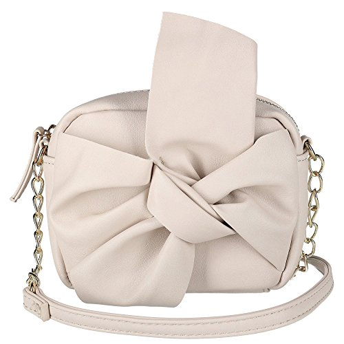 OMG Accessories Women's Embellished Crossbody Bag with Knot Bow, Stone