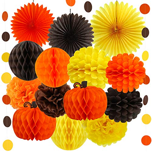 Aneco 15 Pieces Thanksgiving Fall Party Decorations Kit Paper Pumpkin Yellow Brown Orange Paper Tissue Pom Poms Paper Fans Polka Dot Paper Garland For Autumn Decorations Birthday Party Supplies