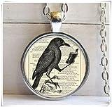 Vintage crow Cabochon Tibetan silver Glass Chain Pendant Necklace