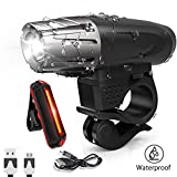 Bike Light Set USB Rechargeable Mountain Bicycle Headlight and Taillight Set Waterproof  LED Front Light and Rear Light for Cycling Safety