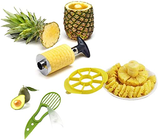 Tranche Coupe-Découpe Ananas Pineapple Slicer Eplucheur Vide Acier inoxydable