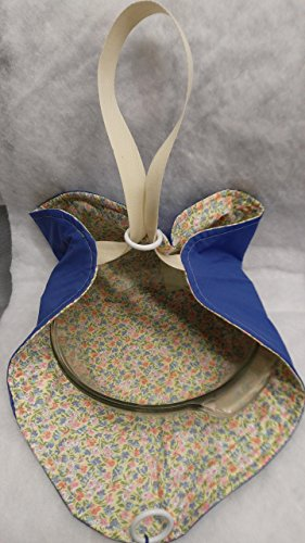 - Casserole Tote: Royal Blue over Pink and Blue Floral