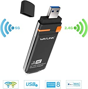 WAVLINK USB3.0 Wi-Fi Adapter for PC AC1300Mbps Wireless Network Adapter for Desktop - Dual-Band 5GHz 2.4GHz WLAN Networks with 2 x 3dBi Omni Directional Antennas Supports Windows and Mac OS 10.4~10.9