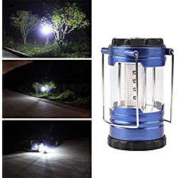 1-Pcs Grand Fashionable 12 LEDs Lantern Night Lights Tent Lamp Telescopic Camping Bivouac Hiking Fishing Energy Saving Colors Blue with Compass