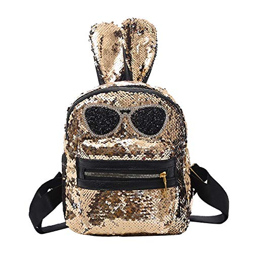 (Shining Women Sequins Backpacks Teenage Girls Travel Large Capacity Bags Portable Party Mini School Bags Shoulder Bag for Lady,Gold Type B)