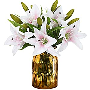 RERXN Artificial Tiger Lily Latex Real Touch Flower Home Wedding Party Decor,Pack of 5 (White with red Heart) Product ID: 653892503564 116