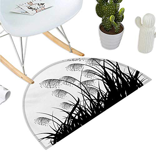 Black and White Semicircle Doormat Silhouette of Bushes Wild Plants Wheat Field Twiggy Herbs Seasonal Picture Halfmoon doormats H 51.1