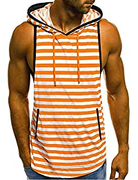 7171f7b0 Men's Summer Casual Camouflage Print Hooded Sleeveless Stripe T-Shirt Vest Blouse  Tops