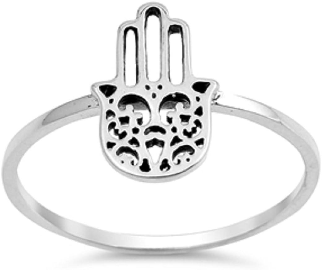 Princess Kylie 925 Sterling Silver Hamsa Hand Ring