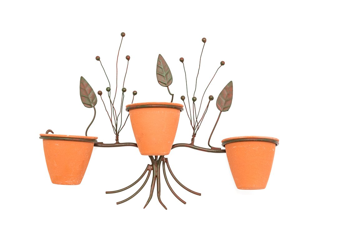 "ZoneHaven 3 Unbreakable Mini Terracotta Style Pots with Decorative Wall Planter, Fixings Included. Black Wrought Iron Metal 12.25"" Length"