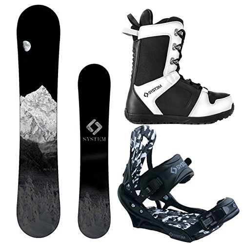 System MTN and APX Complete Men's Snowboard Package (158 cm Wide, Boot Size 12) (Intermediate Snowboards)