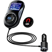 Guzack Bluetooth Car FM Transmitter Hifi Wireless Car Radio Receiver Stereo 1.44 Inch Display Supports TF/SD Card and USB Car Charger Mount Holder Car Kits Adapter for Smartphones Audio Players