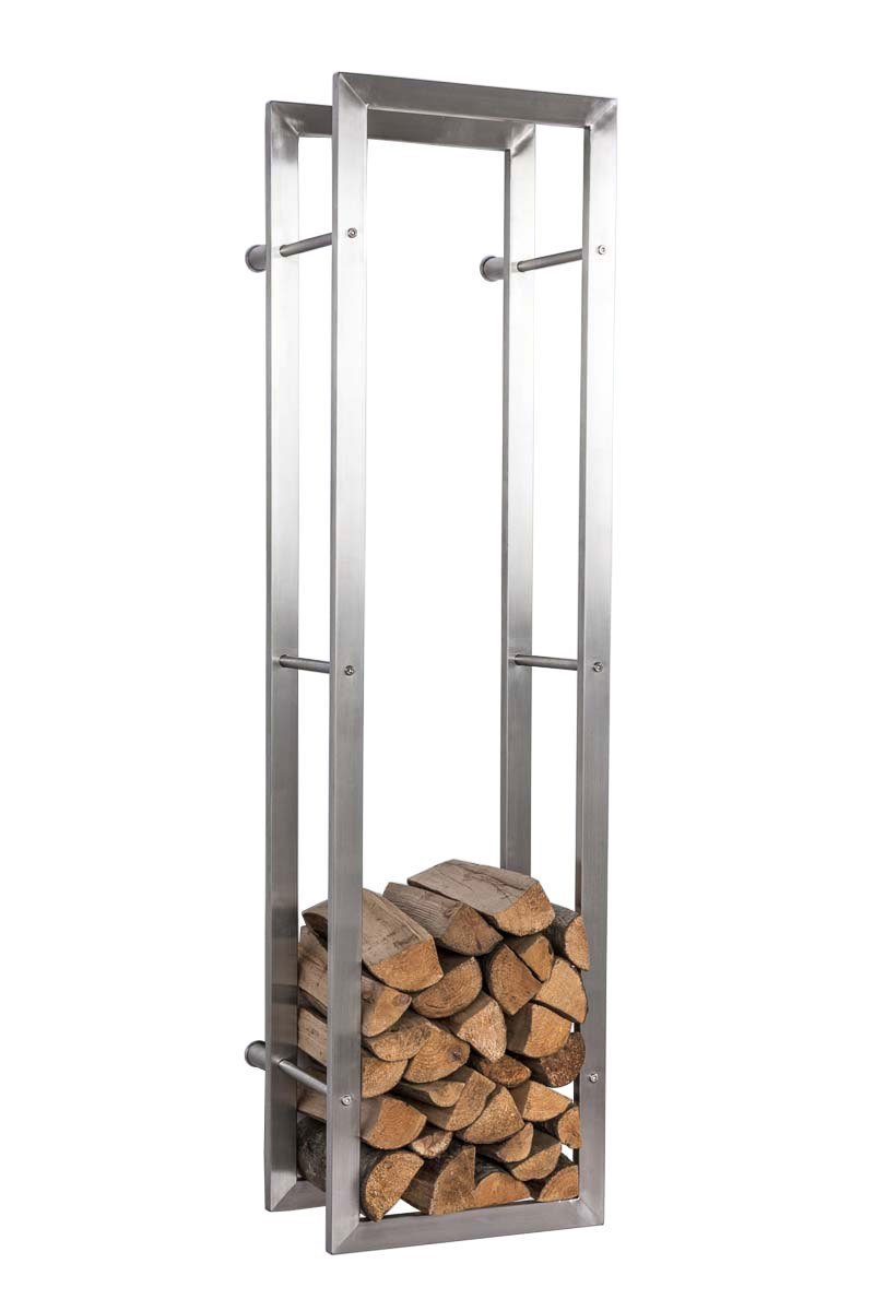 CLP Exclusive firewood rack KERI for the wall, oxidation-free & robust stainless steel, 8 25 x 60 x 100 cm