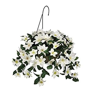 House of Silk Flowers Artificial White Clematis Hanging Basket by House of Silk Flowers 13