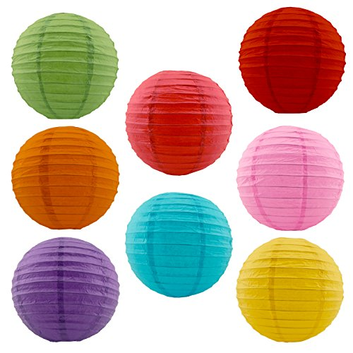 Charmed 12' assorted mix color paper lanterns with metal frame (8 pk)