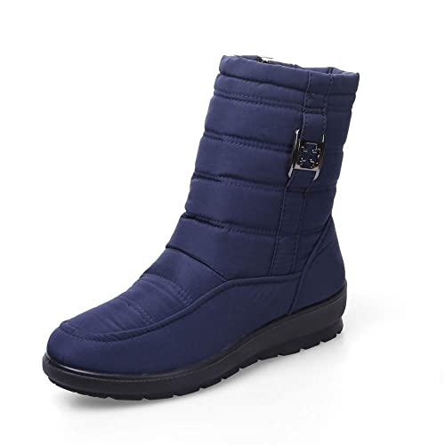 c90a0988ee4 Botas de Nieve Mujer Invierno Impermeable Forrados Calentar Ligero Casual  Outdoor Calzado Anti-Deslizante Zapatos Negro Rojo Azul 35-42  Amazon.es   Zapatos ...