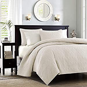 Madison Park MP13-480 Quebec Coverlet Mini Set Twin XL Ivory, Twin/Twin X-Large