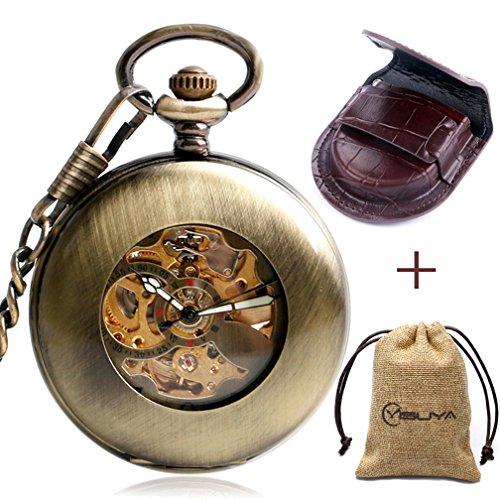 Retro Bronze Automatic Mechanical Pocket Watch Arabic Numerals Chain Creative Transparent Glass Cover